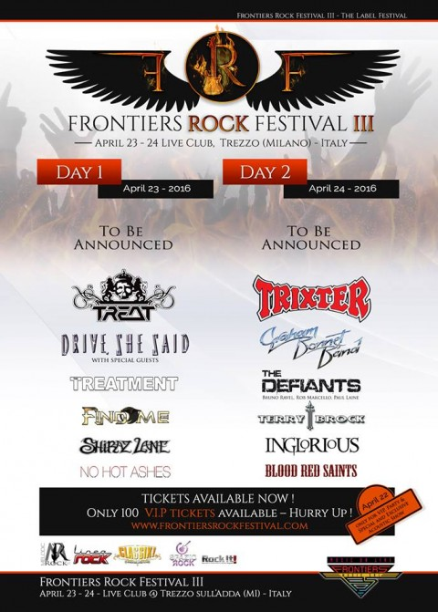 Frontiers Festival nuove 4 band