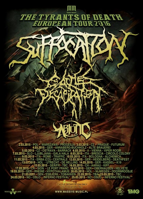 Suffocation Cattle Decapitation Tour 2016 Europe