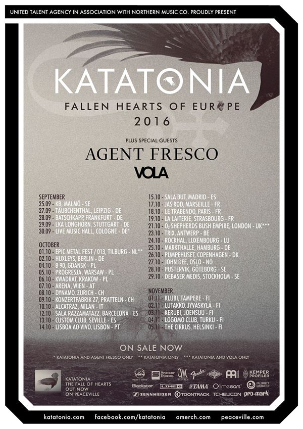 Katatonia Tour Europe 2016 Updated